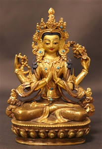 Statue Manjushri, 05 inch, Partially Gold Plated