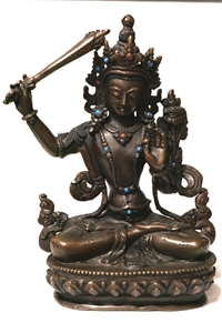 Statue Manjushri ,5.5 inch , Dark Copper