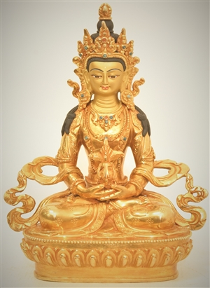 Statue Amitayus, 08 inch, Fully Gold Plated