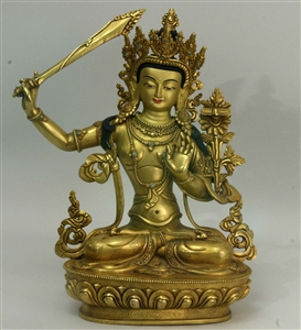 Statue Manjushri 12 inch, Fully Gold Plated