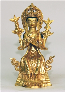 Statue Seated Maitreya, 09 inch, Fully Gold Plated