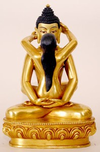Statue Samantabhadra, 08 inch, Fully Gold Plated