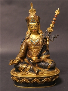 Statue Guru Rinpoche, 08 inch, Fully Gold Plated