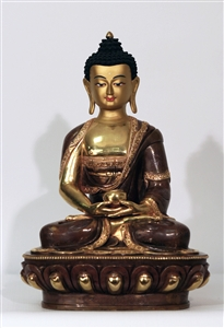 Statue Amitabha, 12 inch, Partially Gold Plated