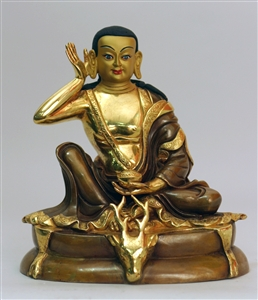 Statue Milarepa, 07 inch, Partially Gold