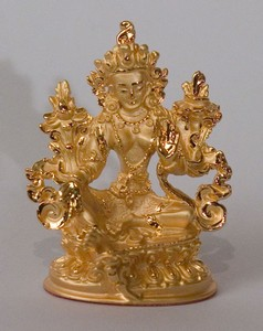 Statue Green Tara, 2.25 inch, Gold Plated