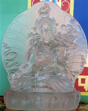 Statue White Tara with back, 10 inch, Glass