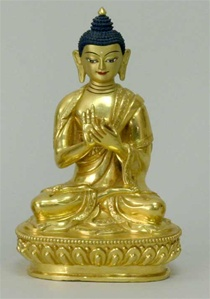 Statue Vairochana Buddha, 05 inch, Fully Gold Plated