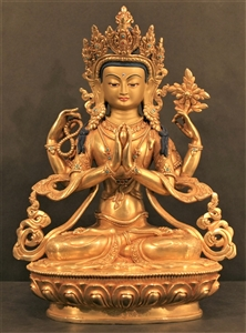 Statue 1000-Armed Chenrezig, 18 inches , Partially Goldplated