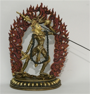 Statue Vajrayogini 12 inch Partially Gold Plated, with flames 13.5 inches