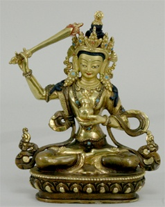 Statue Manjushri, with Wisdom Vase, Partially Gold Plated, 05.5 inch