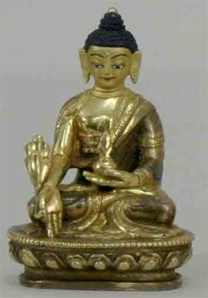 Statue Medicine Buddha, 03.25 inch, Partially  Gold Plated