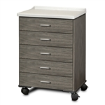 Clinton 8950-AF Fashion Finish, Molded Top, Mobile Treatment Cabinet with 5 Drawers