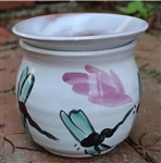 Pottery - Majolica African Violet Self Watering Pot - Teal Dragonfly