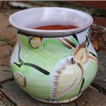 Pottery - Majolica African Violet Self Watering Pot - Luna Moth (rounded side)