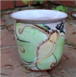 Pottery - Majolica African Violet Self Watering Pot - Luna Moth (straight side)