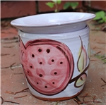 Pottery - Majolica African Violet Self Watering Pot - Pomegranate