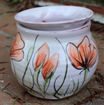 Pottery - Majolica African Violet Self Watering Pot - Poppy (rounded side)