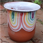 Pottery - Majolica African Violet Self Watering Pot - Melting Rainbow