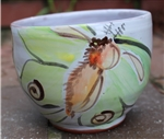 Pottery - Majolica Tall Ice Cream Bowl - Luna Moth