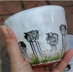 Pottery - Majolica Tall Ice Cream Bowl - Tall Sheep