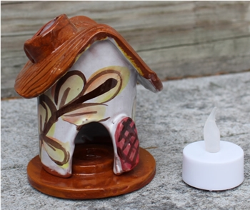 Pottery - Incence/Candle Village House - Autumn Leaf