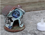 Pottery - Incence/Candle Village House - Blue Sheep