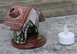 Pottery - Incence/Candle Village House - Green Leaf
