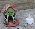 Pottery - Incence/Candle Village House - Green Sheep