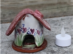 Pottery - Incence/Candle Village House - Heart Flowers