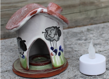 Pottery - Incence/Candle Village House - Tall Sheep - Blue Flowers