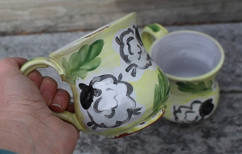 Pottery - Majolica Mug - Bouncing Sheep - Lime