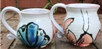 Pottery - Majolica Mug - Lobster - Red and Blue