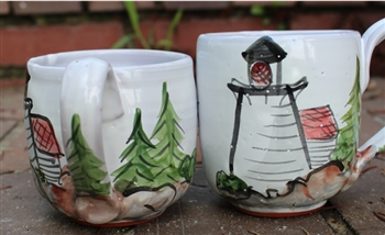 Pottery - Majolica Mug - Lighthouse