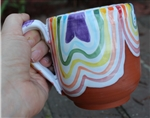 Pottery - Majolica Mug - Bubbles - Melting Rainbows