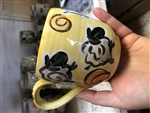 Pottery - Majolica Mug - Tumbling Sheep on Golden yellow