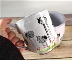 Pottery - Majolica Mug - Tall Sheep