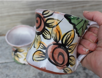 Pottery - Majolica Mug - Sunflower
