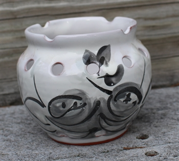 Pottery - Majolica Orchid Plant Pot - Greyscale Cottage Rose