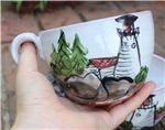 Pottery - Majolica Soup/Cappuccino Mug - Lighthouse