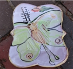 Pottery - Majolica Large Soap Dish - Luna Moth