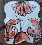 Pottery - Majolica Large Soap Dish - Red Lobster