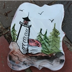 Pottery - Majolica Soap Dish - Lighthouse (white back)