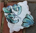 Pottery - Majolica Small Square Dish - Blue Lobster