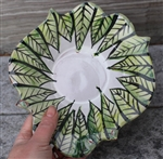 Pottery - Majolica Small Regular Bowl - Green Leaf