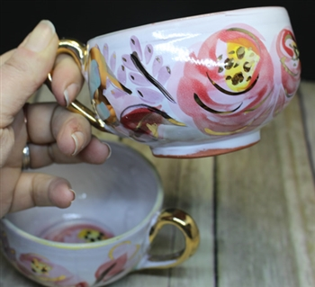 Pottery - Majolica Tea Cup - Cottage Rose Gold