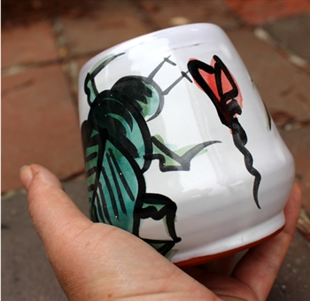Pottery - Majolica Wine Cup - Beetle