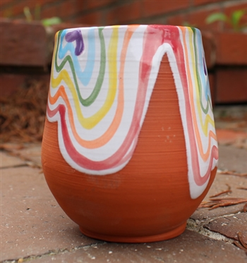 Pottery - Majolica Wine Cup - Rainbow Drips