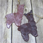 Pottery - Alpaca/Llama Ornament - Swirly Embossed