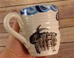 Pottery - Ribbed Office Mug - Goat - Circus Blue